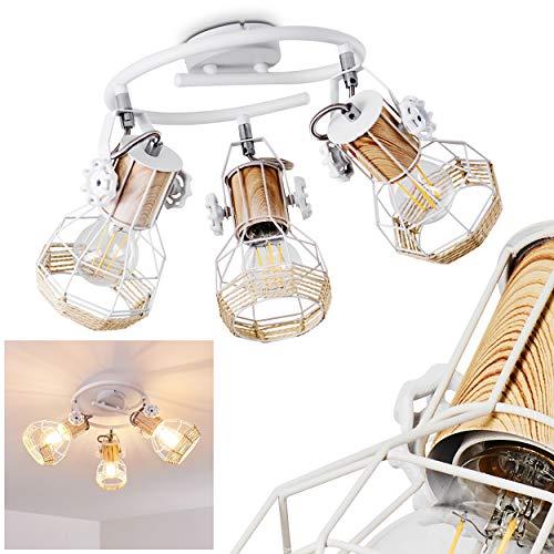 Lámpara de techo Barbacena, redonda, de metal, madera y rafia en blanco...