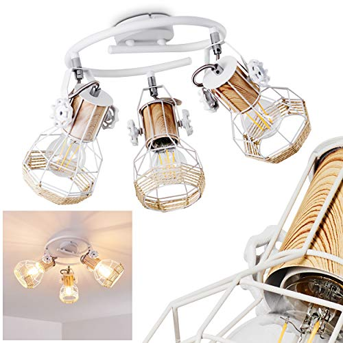 Ceiling Light Barbacena in Wood, White Metal and String, 3 Stylish swivelling Ceiling Spots, Fitting in a Vintage Living Room, for 3 x E27 Bulbs max. 40 Watt, LED Compatible