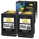 CMCMCM Remanufacturado para HP 302XL 302 Cartuchos de tinta negros para HP Envy 4520 4525 4524 4527 4522 4528 Officejet 3833 4658 3834 3830 3831 4654 4650 Deskjet 3630 2130 3636 1110 3633 3632 2 Negro
