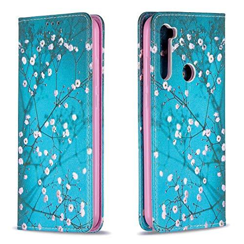 Miagon Brieftasche Hülle für Xiaomi Redmi Note 8,Kreativ Gemalt Handytasche Case PU Leder Geldbörse mit Kartenfach Wallet Cover Klapphülle,Blau Blume