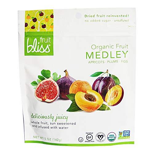 Fruit Bliss Dried Fruit Mix – Fruit Medley of Organic, Dried & Pitted Apricots, Plums & Figs - Organic Fruit Snacks, Dried Fruit Snacks, Resealable Pouches, Gluten-Free Vegan Snacks (1 Pack 5oz. Each)