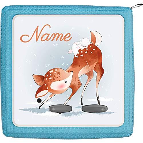 Coverlounge® Schutzfolie passend für die Toniebox mit Namen personalisiert   REH Kitz mit kleinem Hasen