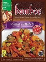 Bamboe bumbuインスタントサンバルゴレンアティ - ココナッツグレービーで肝臓、54グラム(3パック)
