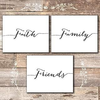 Faith Family Friends Wall Art Prints (Set of 3) - Unframed - 8x10