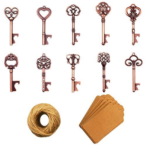 Apribottiglie chiave - 50 pezzi Apribottiglie chiave scheletro vintage con carta regalo Kraft e spago per bomboniere Decorazione rustica antica per feste (10 stili, rame)
