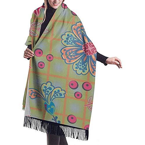 Grote sjaal met de hand geschilderde bloeiende tuinbloemen aan het raam ruit 3 sjaal wrap winter warme sjaal cape oversized sjaal reisdeken sjaal