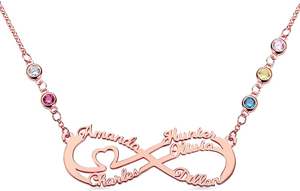 Jack-F Personalised 5 Very popular Names Infinity Necklace 25% OFF Birthstone with Lo