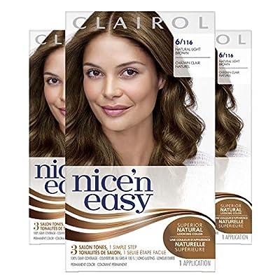 Clairol Nice'n Easy Original Permanent Hair Color, 6 Light Brown, 3 Count