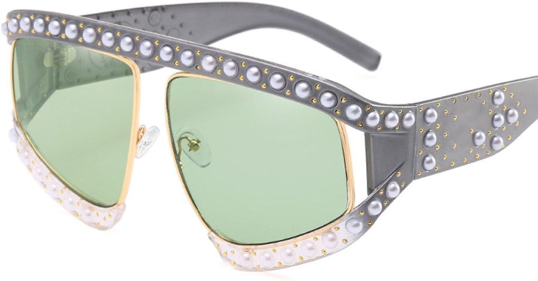 Women's Sunglasses Pearl Sunglasses Rivets Decoration Sunglasses Personality UV Predection Sunglasses ZYXCC