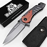 BearCraft Coltello Pieghevole Serramanico con ** eBook GRATUITO ** | Coltello da Tasca per...