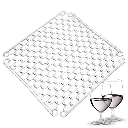 """Adjustable Clear Kitchen Sink Dish Drying Grid Mat - 12.6"""" Inch - Silicone Sink Protector - Cushions Sinks Stemware Wine Glasses Mugs Bowls Dishes - Quick Draining Contours to Sink - Best Gift Idea"""