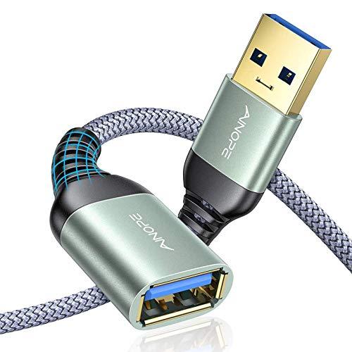 AINOPE 2 Stück 3M+3M USB Verlängerung Kabel USB 3.0 Verlängerungskabel A Stecker auf A Buchse mit eleganten Alluminiumsteckern, Nylon Stoffmantel für Kartenlesegerät,Tastatur, Drucker, Scanner