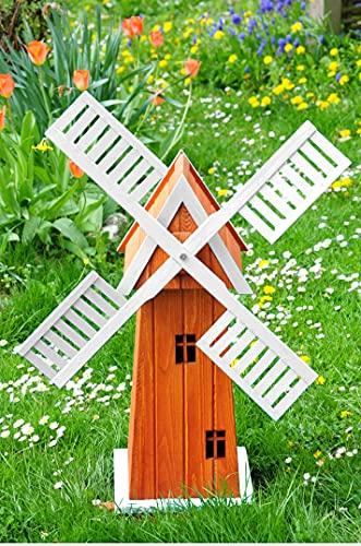 Windmühle 100 cm, XXL-Designer-Mühle Windmühle einstöckig KLASSIK MIT BALKON-Rand HOLZ Fenster, XL Gartenwindmühle ECK100-we-OS, WEISS naturweiß voll funktionstüchtig,schöne Details, Fensterkreuz Dek
