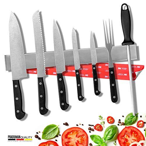 PRADUMAN - Barra magnética para cuchillos de acero inoxidable - Extra fuerte - Soporte magnético para cuchillos perfecto para guardar utensilios de cocina