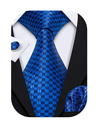 Barry.Wang, set di cravatta, gemelli e pochette da uomo, motivo originale, materiale: seta Blue Taglia unica