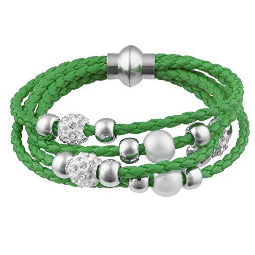 Mianova Damen Glück Armband Armreif geflochten mit Strass Kristall Steinen Shamballa und Perlen Kugeln Leder Leder Armband Armreif Grün