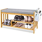 Shoe Rack Bench, Entryway 3-Tier Shoe Organizer, Bamboo Storage Shelf with Cushion for Boots, Modern Stool for Bedroom Living Room 35.5' L x 12' W x 19.7'