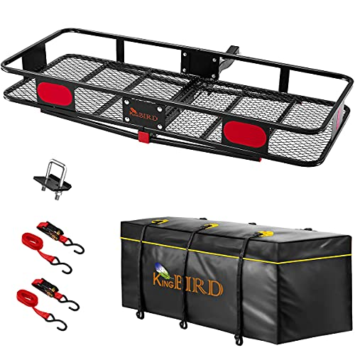 KING BIRD Upgraded 60' x 24' x 6' Hitch Mount Folding Cargo Carrier Fits to 2'' Receiver,550LBS...