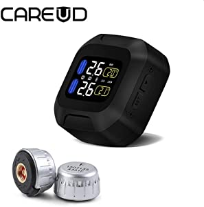 CAREUD TPMS Tire Pressure Monitoring System Motor Auto Tyre Alarm Wireless Waterproof with Sensors for Two-wheeled Motorcycle  sensor 23X 15mm