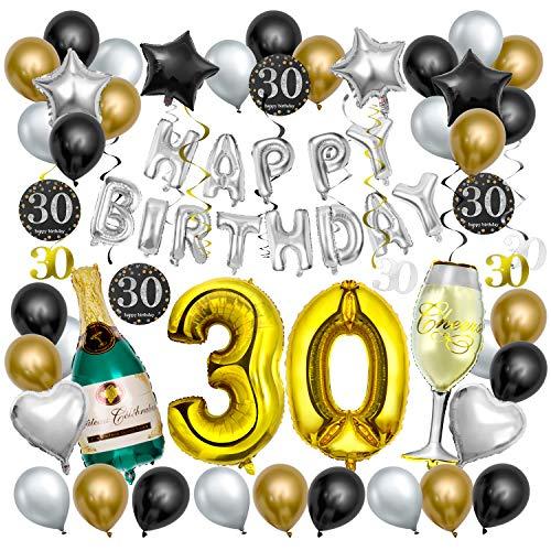 Decoración de la Fiesta de Cumpleaños 30 Años, Comius Sharp 65 pcs Negro y Dorado Balloon de Látex Colgando Remolinos Botella de Champán Globo para Cumpleaños de 30 Años Partido