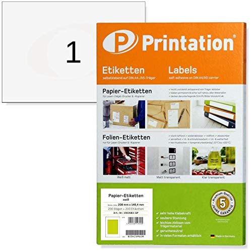 Address Labels A5 Pack of 200 210 x 148.5 mm White Self-Adhesive 200 DIN A5...