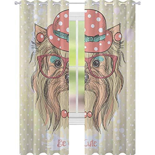 YUAZHOQI Yorkie Cortina de ventana Drape Be Cute Retrato de un adorable perro con pendientes collar gafas sombrero maquillaje 52 'x 241 cm cortinas personalizadas coral marrón pálido