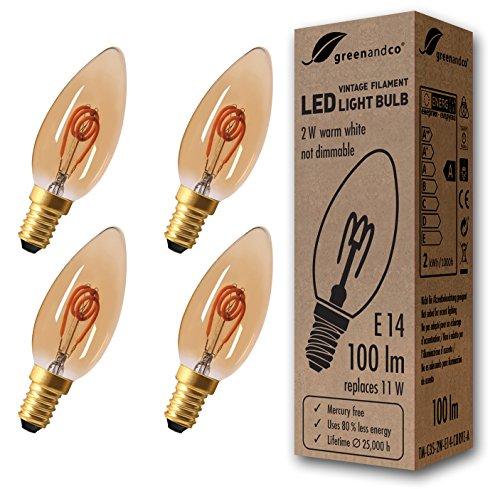 4x greenandco® Vintage Glühfaden LED Kerze ersetzt 11W E14 2W 100lm 2000K extra warmweiß 360° 230V flimmerfrei, nicht dimmbar, 2 Jahre Garantie