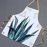 Driverder Gran Cocina de Delantal Delantal de la Lona del Delantal de la Impresión de la Planta de Moda para la Cocina casera (áloe)
