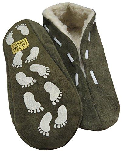 Sonia Originelli Hausschuhe Puschen echt Leder Schluffis Mokassins warm 35-47 antirutsch ABS B115-Grau (38)