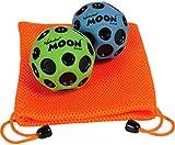 Waboba Moon Balls, Bundle of 2, 1 Blue & 1 Green, with Bonus Orange Mesh Drawstring Pouch    Bundled Items