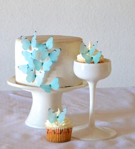 Price comparison product image Edible Butterflies - Small Pastel Blue Set of 24 - Cake and Cupcake Toppers,  Decoration