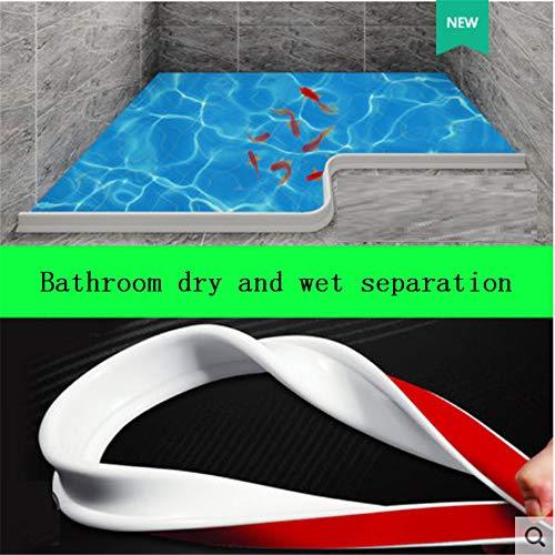 Tira de silicona para barrera de agua de baño Sello de mampara de ducha, tope de flujo de agua de baño flexible de silicona para la separación seca y húmeda del baño (150cm,gris)