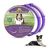 Collare Calmante per Cani, Collari per Cani Anti-ansia Regolabili, Collare ai feromoni calmante a 60 Giorni Lunga Durata Impermeabile Naturale Sicuro per Tutti i Cani (2pezzi Viola)