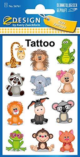 AVERY Zweckform 27 Tattoos Kinder Tiere (Temporäre Tattoos, wasserfeste Kindertattoos, hautfreundliche Klebetattoos, Aufkleber für Jungen Mädchen Mitgebsel Kindergeburtstag Party) 56761