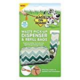 Bags on Board Dog Poop Bags Dispenser with 14 Refill Bags | Attaches to Most Leashes, Green Chevron