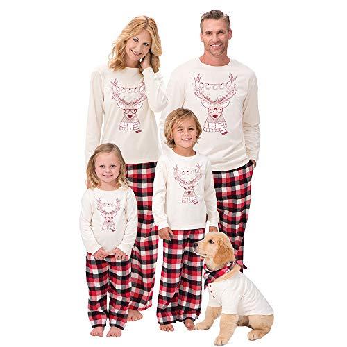 Navidad de BaZhaHei, Mujeres Hombre Santa Ciervos Tops Blusa Pantalones Pijamas Ropa de Dormir Juego de Conjunto de Pijama de casa de tartán con Mangas largas y Paquete Familiar para niña de Damas