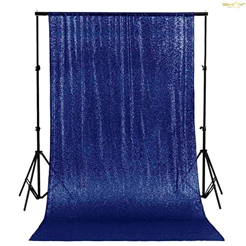 ShinyBeauty Tenda di sfondo con paillettes Blu scuro 4FTx7FT Tende luccicanti Sfondi glitter Fondali natalizi con paillettes per la fotografia