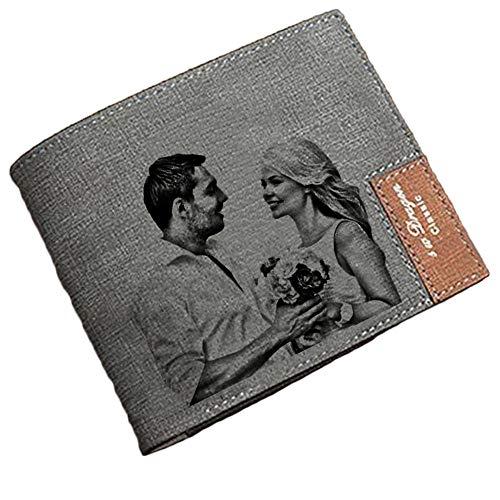 Foto-Brieftasche Personalisierte Herren-Brieftasche Gravierte Bild- und Text-Brieftasche Vatertagsgeschenk(Grau Einseitig)