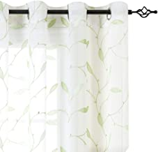 White Leaf Sheer Curtains for Living Room Curtains Grommet Top Floral Leaf Embroidery Voile Sheer Curtains 63