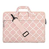 MOSISO Laptoptasche Kompatibel mit 15 Zoll MacBook Pro Touch Bar A1990 A1707, 14 HP Acer Chromebook, 2019 Surface Laptop 3 15, Canvas Geometrische Muster Sleeve Hülle Tasche, Rosa Quatrefoil