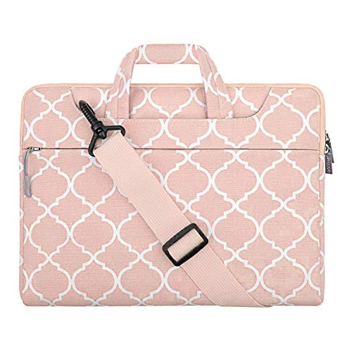 MOSISO Laptop Shoulder Bag Compatible with MacBook Air 13 inch A2337 A2179 A1932, 13 inch MacBook Pro A2338 A2289 A2251 A2159 A1989 A1706 A1708, Canvas Quatrefoil Pattern Briefcase Sleeve, Pink
