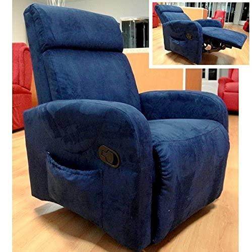 Bagno Italia - Sillón Relax reclinable 76 x 75 x 102 cm, microfibra azul y burdeos con efecto de vibromasaje y calefacción I