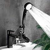 Faucet Hose Sprayer Attachment ,Sink Sprayer Kit ,Dog Shower Attachment,Quick Connect on Kitchen Bathroom Laundry Faucet Bath Tub Spout,Easy Hair Washing , Dog ,Baby Bathe(Black-long)