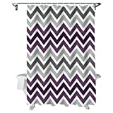 Chevron Shower Curtains Sets Multicolor Zig Zag Grey White and Purple Waterproof