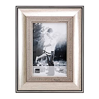 Kiera Grace Wilson Picture Frame, 4  by  6 Inch , Brushed Silver with Embossed Motif