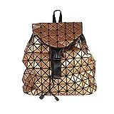 Bao Bao Miyake Inspired Geometric Bag PU Backpack Lightweight Fashion GOLD
