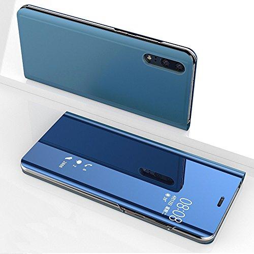 Coque Housse Miroir pour Huawei P20, Plastique Etui Coque pour Huawei P20, ZCRO Élégant Protection Case Cover pour Huawei P20 Miroir Plastique Antichoc Dure PC Rigide Hard Flip Case Mince Slim Couverture Coquille Étui Luxe Léger Téléphone Coque Intéressant Mirror Design Housse pour Huawei P20 avec Fonction Support (Bleu)
