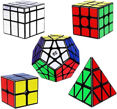 Vdealen Speed Cube Set con Cubos de Velocidad 2x2 3x3 Pirámide Megaminx Mirror Cube, Rompecabezas de Pegatina Cubo Mágico, Paquete de 5