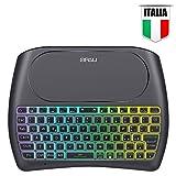QPAU [Layout Italiano Mini Tastiera Retroilluminata, 2.4Ghz Mini Tastiera Senza Fili Wireless con Touchpad per PC, Pad, Android/Google TV Box