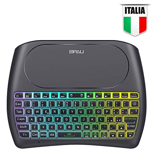 QPAU [Layout Italiano Mini Tastiera Retroilluminata, 2.4Ghz Mini Tastiera Senza Fili Wireless con Touchpad per PC, Pad, Android/Google TV Box